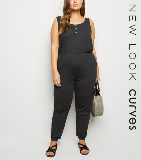 3b8a4cc598 ... Curves Black Button Front Utility Jumpsuit ...