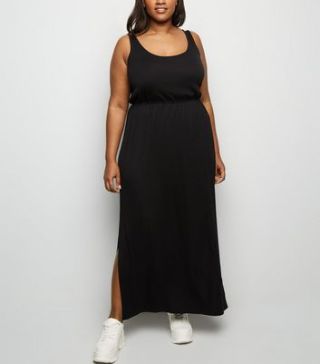 Curves Black Elasticated Waist Jersey Maxi Dress