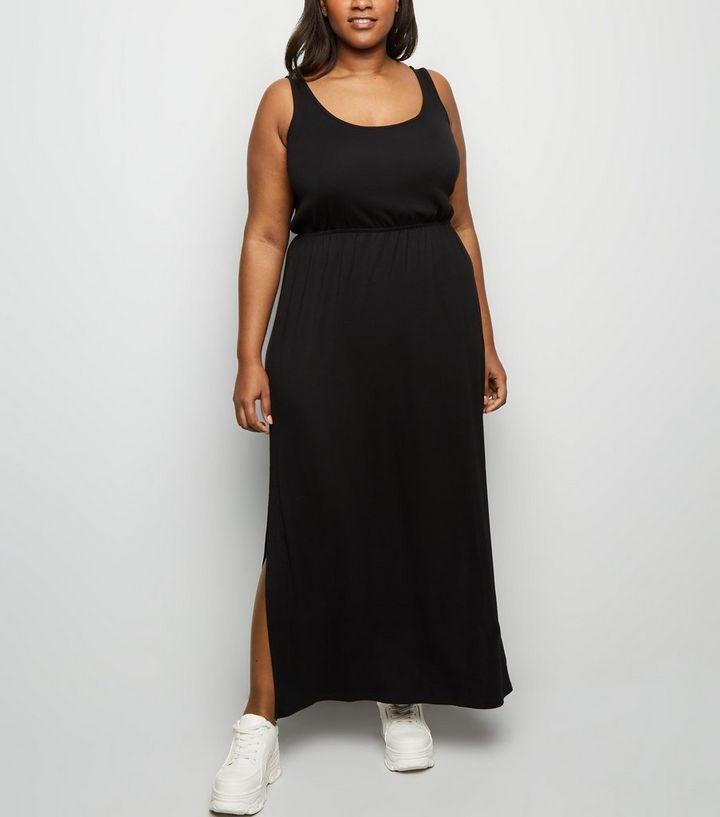014ff2b013 Curves Black Elasticated Waist Jersey Maxi Dress