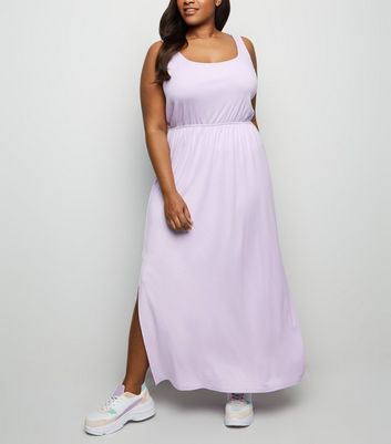 Curves Lilac Elasticated Waist Jersey Maxi Dress