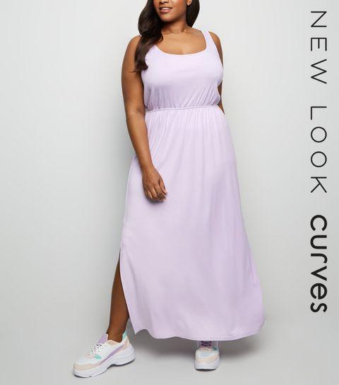 4ce19c51fb ... Curves Lilac Elasticated Waist Jersey Maxi Dress ...