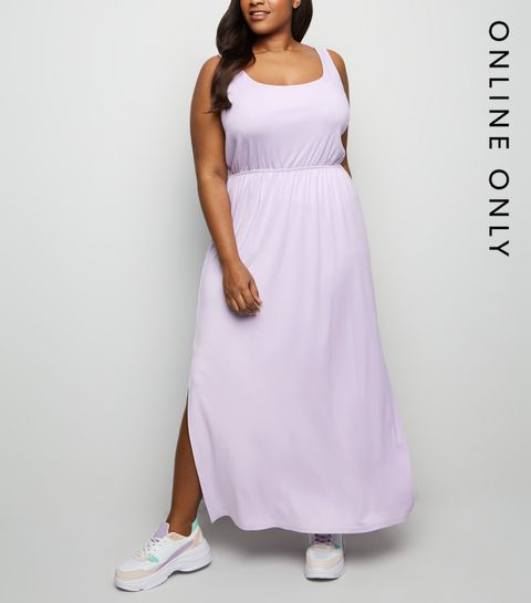 f13c277ba00 ... Curves Lilac Elasticated Waist Jersey Maxi Dress ...