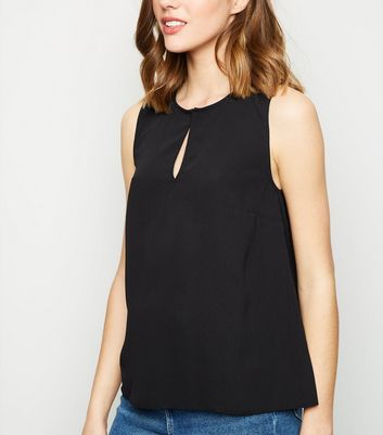 Black Split Neck Sleeveless Top