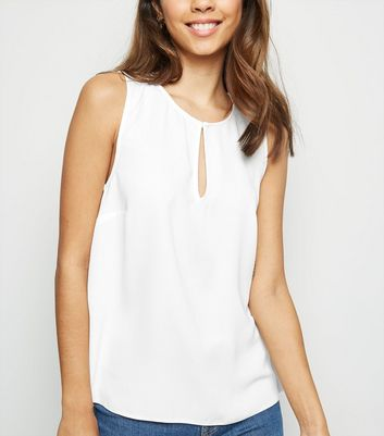 Off White Split Neck Sleeveless Top