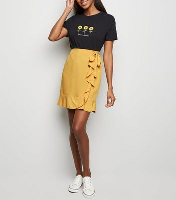 Mustard Ruffle Front Wrap Mini Skirt
