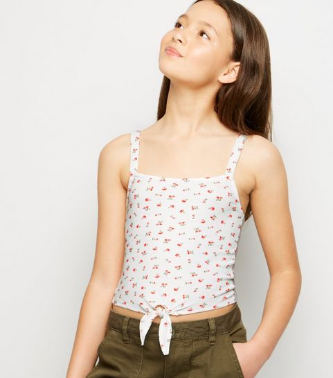 a3a34acf8e6079 ... Girls White Ditsy Floral Ribbed Tie Cami ...