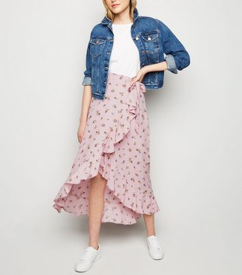 Pink Floral Ruffle Trim Wrap Midaxi Skirt