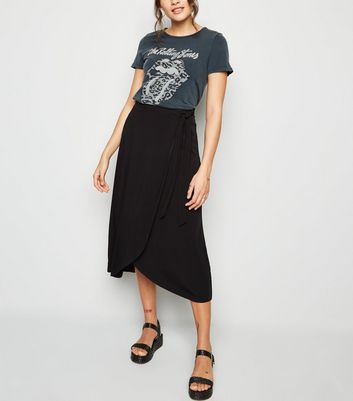Black Wrap Midi Skirt