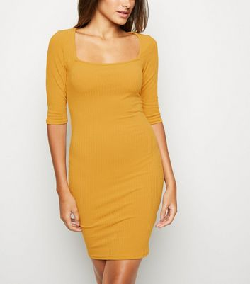 Mustard Square Neck Bodycon Dress