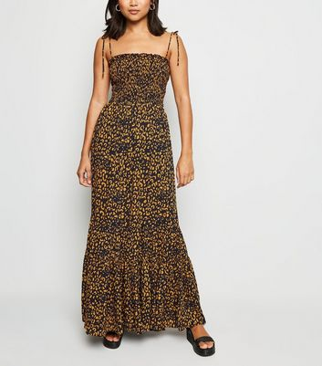 Petite Navy Leopard Print Shirred Maxi Dress