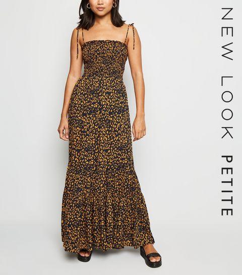 5cac282b6912 ... Petite Navy Leopard Print Shirred Maxi Dress ...