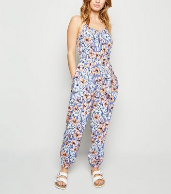 Petite Blue Tropical Floral Jumpsuit