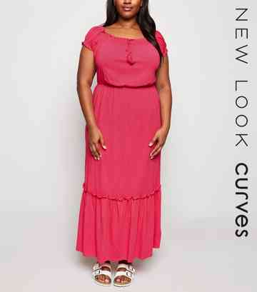 Curves Bright Pink Neon Jersey Maxi Dress