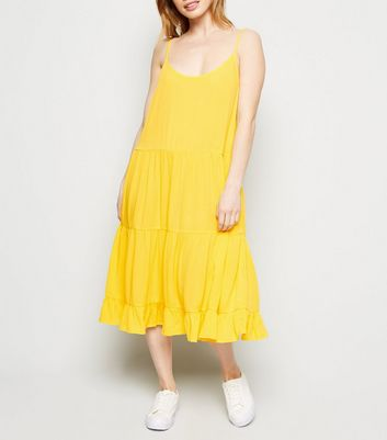 Petite Yellow Cheesecloth Tiered Hem Dress
