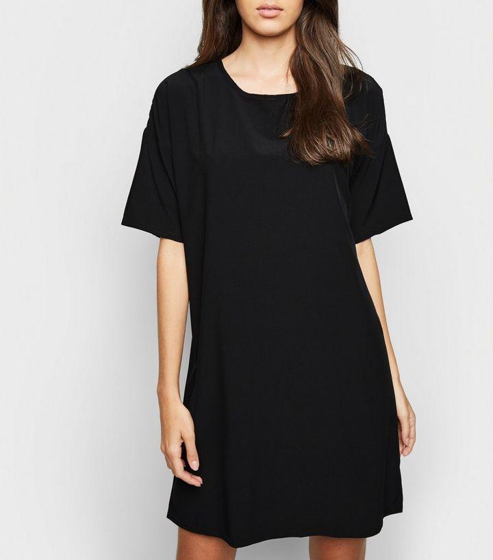 5df48c223e8e Black Oversized Plain T-Shirt Dress