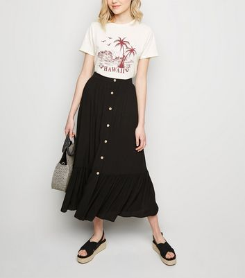 Black Button Up Tiered Midi Skirt