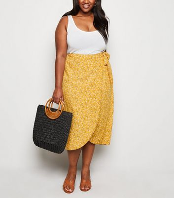 Curves Mustard Ditsy Floral Wrap Midi Skirt