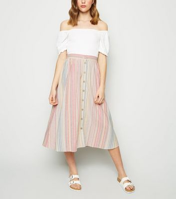 White Stripe Linen Blend Button Up Midi Skirt