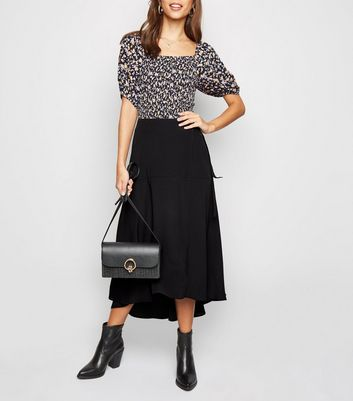 Black Wrap Midaxi Skirt