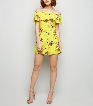 Cameo Rose Yellow Floral Bardot Playsuit