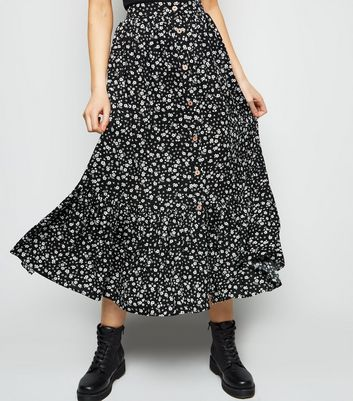 Black Ditsy Floral Button Up Midi Skirt