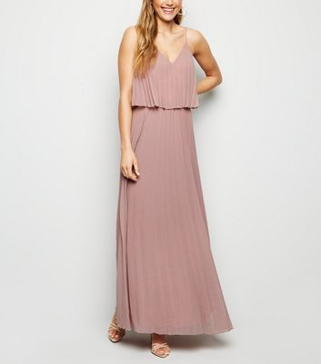 Mink Pleated Layered Maxi Dress