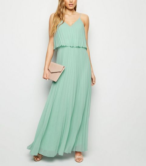 ced8b8054985 ... Light Green Pleated Layered Maxi Dress ...
