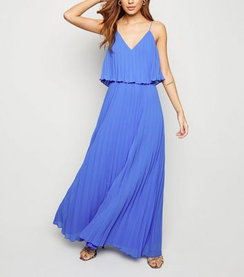 Pale Blue Pleated Layered Maxi Dress