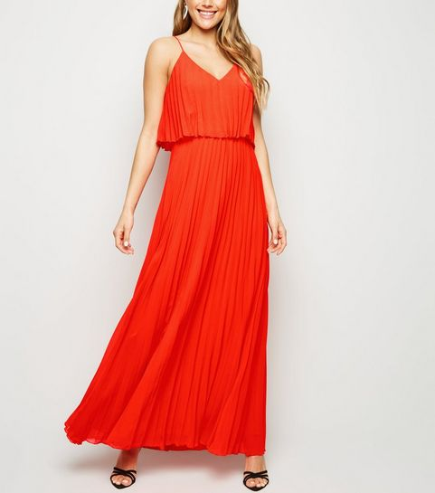6ba3bdf4d58 ... Red Pleated Layered Maxi Dress ...