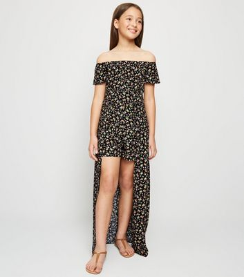 Girls Black Floral Bardot Maxi Playsuit