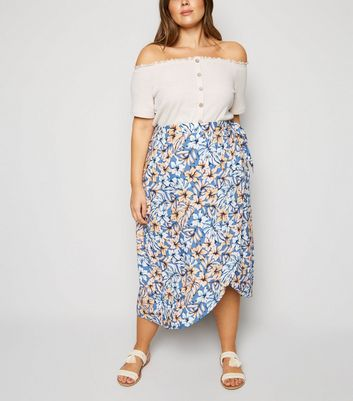 Blue Tropical Floral Wrap Midi Skirt