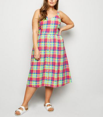 Curves Pink Check Linen Blend Midi Dress
