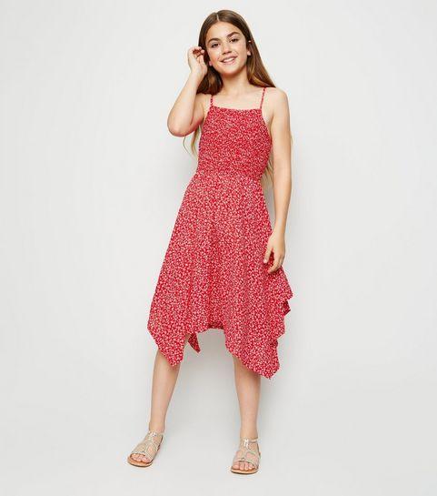 9f41a9a748f ... Girls Red Ditsy Floral Hanky Hem Midi Dress ...
