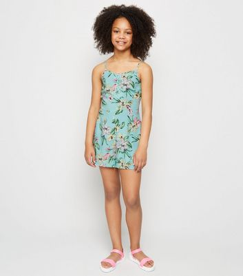 Girls Blue Floral Lattice Front Playsuit