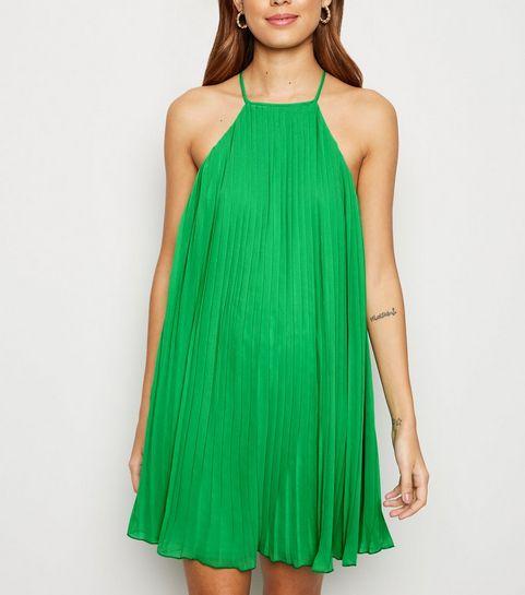 59eeeb163de ... Green Pleated Halterneck Shift Dress ...