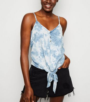 Blue Tie Dye Knot Front Cami