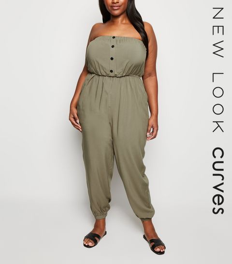 76feb8c353d Curves Khaki Button Bandeau Jumpsuit · Curves Khaki Button Bandeau Jumpsuit  ...
