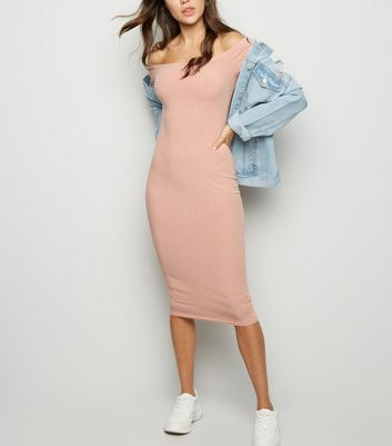 Pink Ribbed Bardot Bodycon Midi Dress