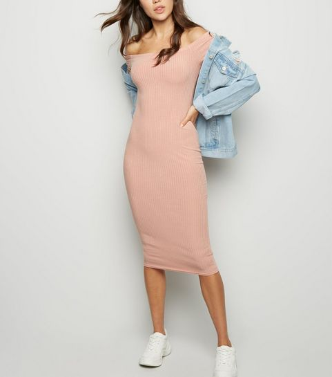 1b8e29b230d ... Pink Ribbed Bardot Bodycon Midi Dress ...