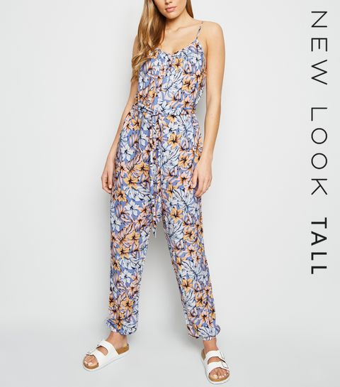 509fe37d76 ... Tall Blue Tropical Print Cuffed Jumpsuit ...