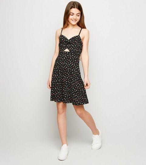 dd2917c859f ... Girls Black Floral Cut Out Dress ...