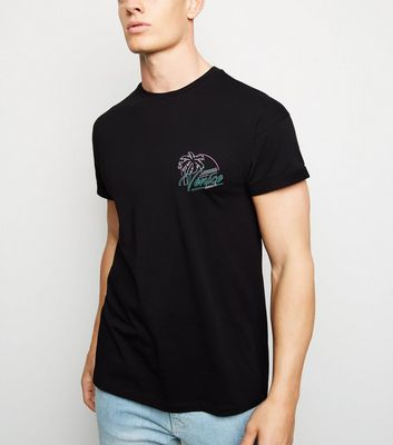 Black Venice Beach Slogan T-Shirt