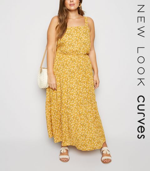 097ebba4c0 ... Curves Mustard Ditsy Floral Cheesecloth Maxi Dress ...
