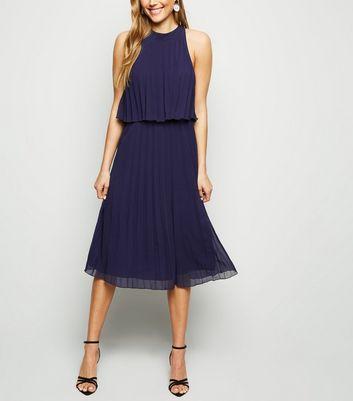 Navy Halterneck Pleated Midi Dress