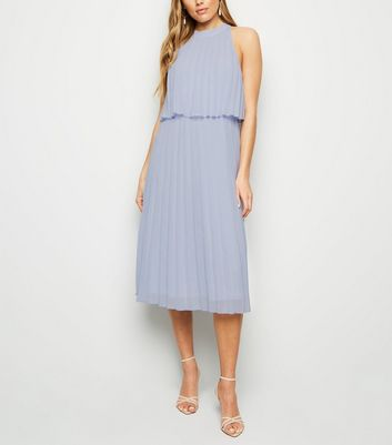 Pale Blue Halterneck Pleated Midi Dress