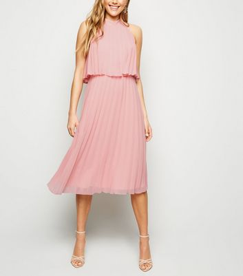 Coral Halterneck Pleated Midi Dress