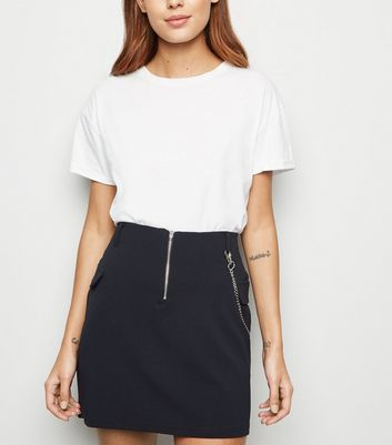 Black Chain Utility Mini Skirt