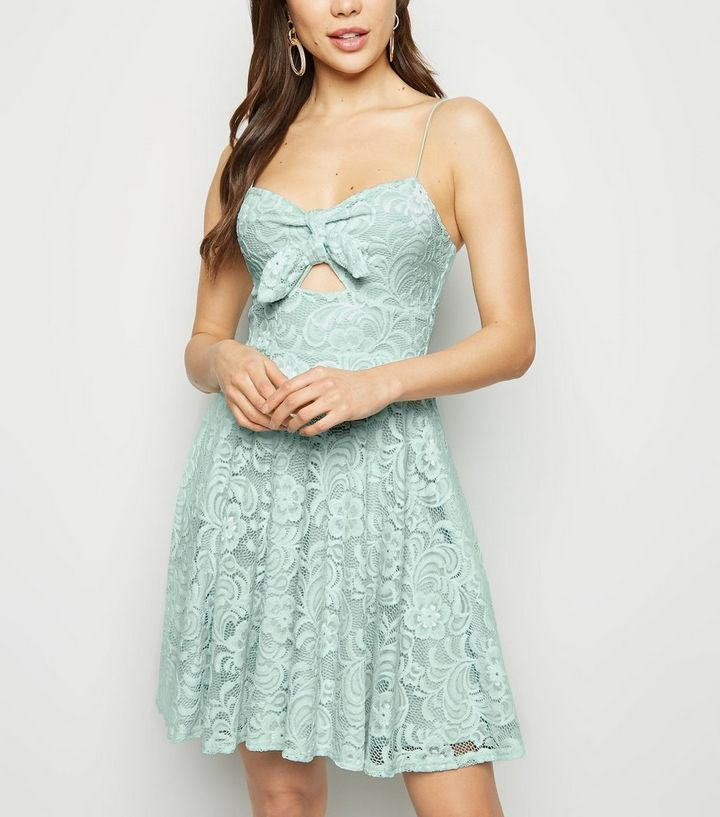 Mint Green Lace Bow Front Skater Dress  239633d998