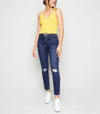 Tall Indigo Rinse Wash Ripped Skinny Jeans