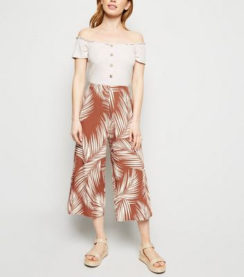 Petite Rust Tropical Crop Trousers